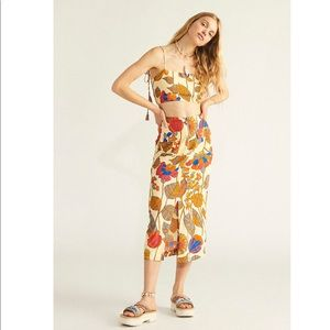 Free People Bold Colorful Print Skirt Set